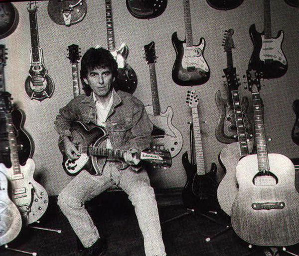 George Harrison with Guitars including Zemaitis Acoustic